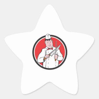 Butcher Sharpening Knife Circle Cartoon Star Sticker