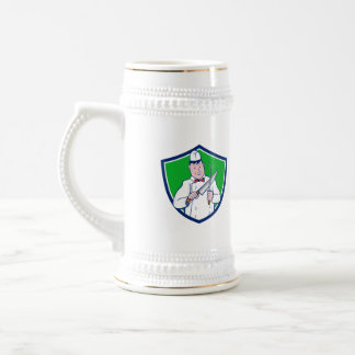 Butcher Sharpening Knife Crest Cartoon Beer Stein