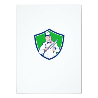 Butcher Sharpening Knife Crest Cartoon Card