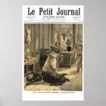 Butcher shop murder - 1892 French newspaper print