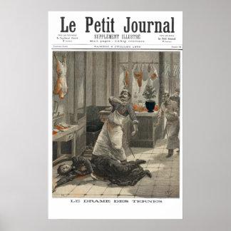 Butcher shop murder B&W - 1892 French newsprint Poster