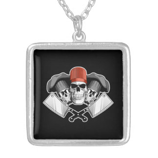 Butcher Skulls Silver Plated Necklace