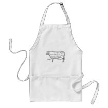 Butcher's Beef Cuts Diagram, cow, butcher, steak Adult Apron