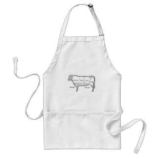 Butcher's Beef Cuts Diagram, cow, butcher, steak Adult Apron