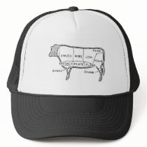 Butcher's Beef Cuts Diagram, cow, butcher, steak Trucker Hat