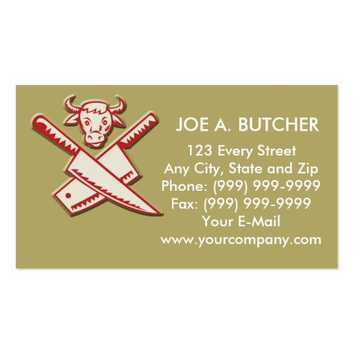 Butcher's knife with cow head business cards