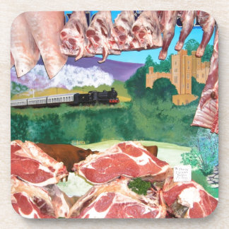 Butchers shop counter drink coaster