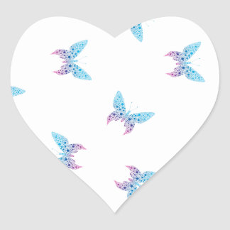 buterfly dot art pattern white, blue, purple heart sticker