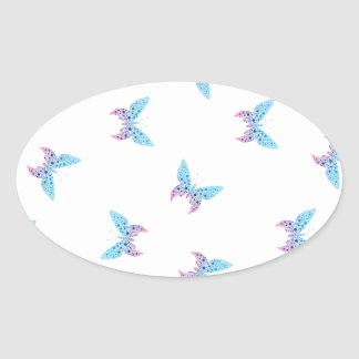 buterfly dot art pattern white, blue, purple oval sticker