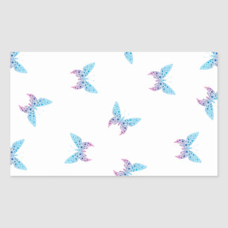buterfly dot art pattern white, blue, purple rectangular sticker