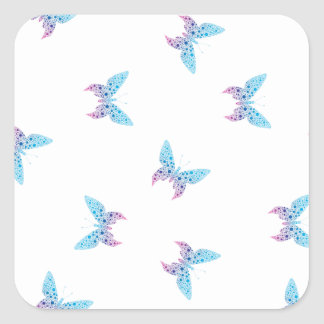 buterfly dot art pattern white, blue, purple square sticker