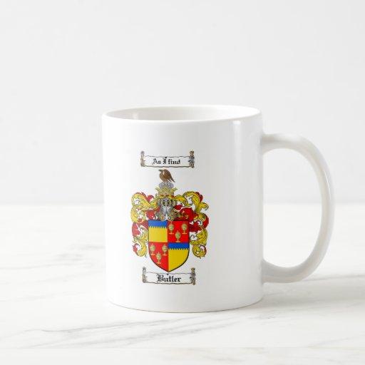 BUTLER FAMILY CREST -  BUTLER COAT OF ARMS COFFEE MUG