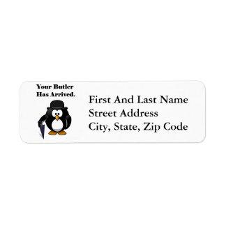 Butler Penguin Cute Cartoon with Umbrella Return Address Label