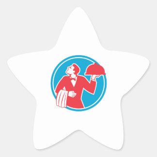 Butler Serving Food Platter Circle Retro Star Sticker