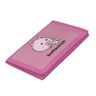 buttachan Pink TriFold Nylon Wallet
