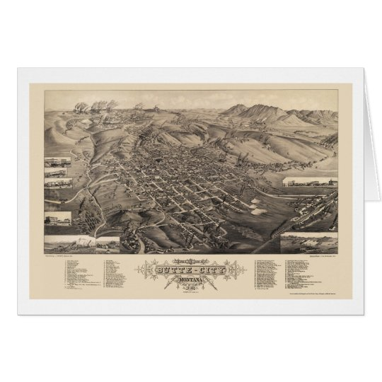 Butte City, MT Panoramic Map - 1884 Card