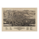 Butte City, MT Panoramic Map - 1884 Poster