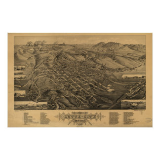 Butte Montana 1884 Antique Panoramic Map Poster