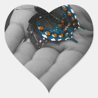 Buttefly in Hand Heart Sticker