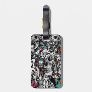 Butter and bones, butterfly skull luggage tag