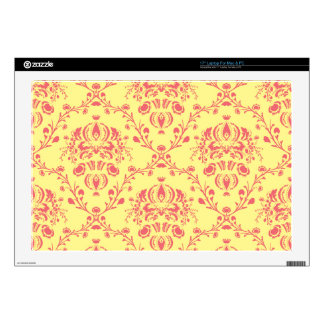 Butter and Cranberry Damask Decal For Laptop