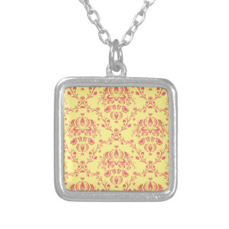 Butter and Cranberry Damask Silver Plated Necklace