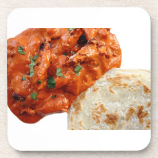 """""""Butter Chicken Curry"""" design square coasters"""