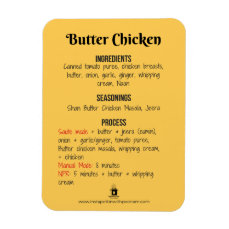 Butter Chicken Recipe Magnet for Instant Pot