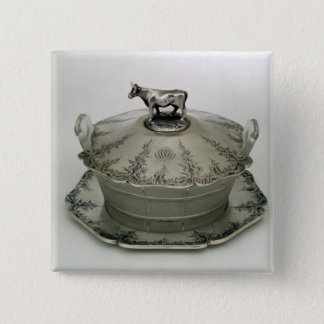 Butter dish with a frosted glass base pinback button