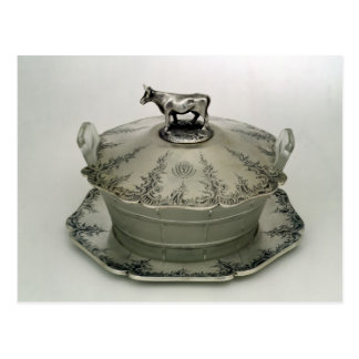 Butter dish with a frosted glass base postcard