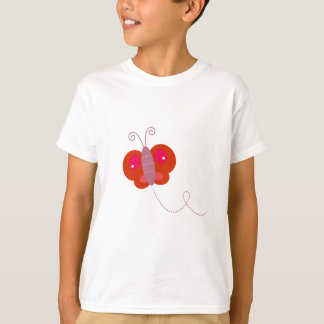 Butter fly Design  Red on white T-Shirt