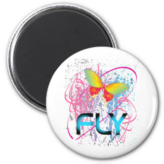 Butter Fly Multi Colour 2 Inch Round Magnet