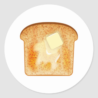 Butter on toast classic round sticker