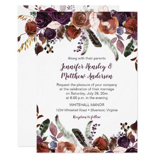 Butter Rum Eggplant Purple Roses Boho Wedding Invitation