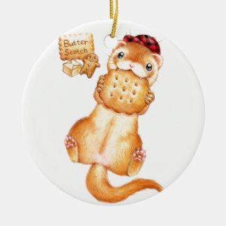 butter scotch ferret ceramic ornament