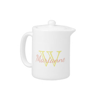 Butter Yellow and Sweet Peach Monogram Teapot