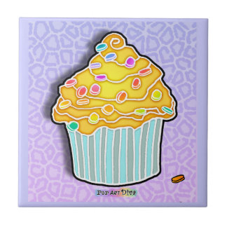 Butter Yellow & Blue Pop Art Cupcke Tile