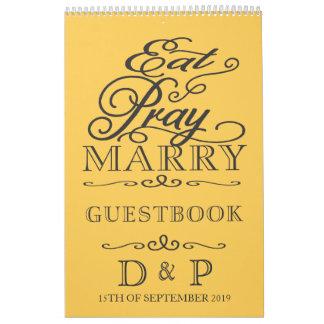 Butter Yellow Damask Monogram Wedding Guestbook Calendar