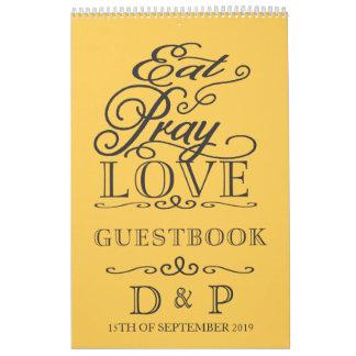 Butter Yellow Eat Pray Love Wedding Guestbook Calendar