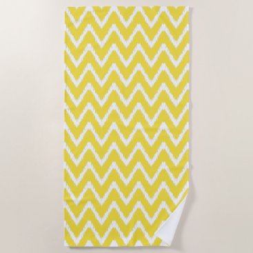 Beach Themed Butter Yellow Southern Cottage Chevrons Beach Towel