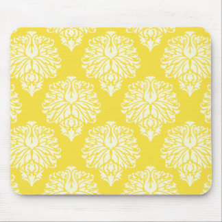 Butter Yellow Southern Cottage Damask Mouse Pad