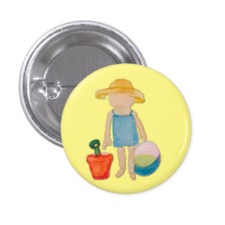 Butter Yellow Toddler Baby Girl at Beach 1 Inch Round Button