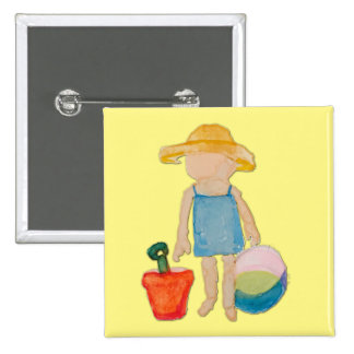 Butter Yellow Toddler Baby Girl at Beach 2 Inch Square Button