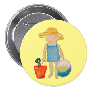 Butter Yellow Toddler Baby Girl at Beach 3 Inch Round Button