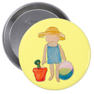 Butter Yellow Toddler Baby Girl at Beach 4 Inch Round Button