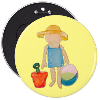 Butter Yellow Toddler Baby Girl at Beach 6 Inch Round Button