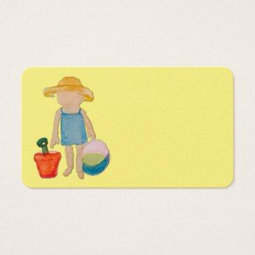 Beach Themed Butter Yellow Toddler Baby Girl at Beach Business Card