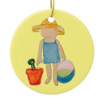 Beach Themed Butter Yellow Toddler Baby Girl at Beach Ceramic Ornament