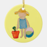 Butter Yellow Toddler Baby Girl at Beach Double-Sided Ceramic Round Christmas Ornament