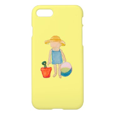 Beach Themed Butter Yellow Toddler Baby Girl at Beach iPhone 7 Case